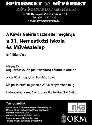 31. Nemzetközi Iskola és Művésztelep kiállítás meghívó