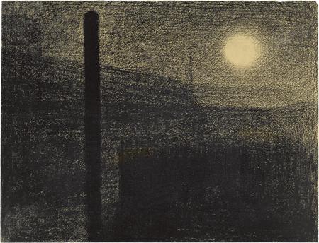 Georges Seurat: Courbevoie: Gyárak holdfénynél (1882-83 k.)